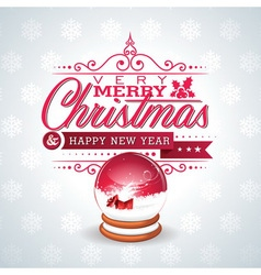 Christmas with magic snow globe vector