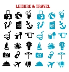 Travel and leisure flat icons set vector