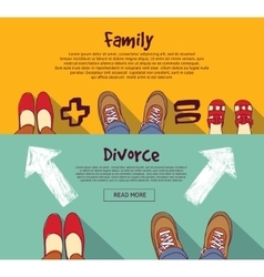 Family relations and divorce people horizontal vector