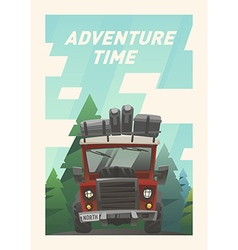 Off road full loaded adventure car vector