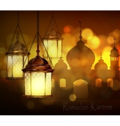 Intricate Arabic lamps with lights vector image