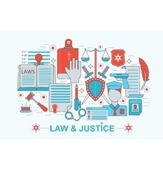 Modern flat thin line design law and justice vector