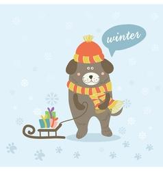 A winter scene with a cartoon dog vector
