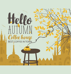 Autumn landscape on coffee theme with cup vector