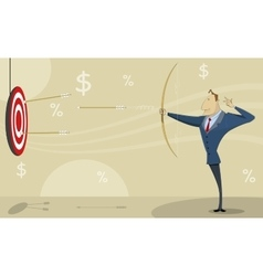 Businessman shooting at target with bow and arrow vector