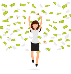 businesswoman jumping in money rain finance vector image vector image