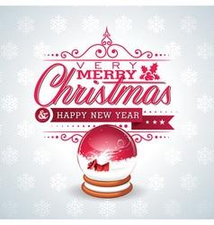 Christmas with magic snow globe vector