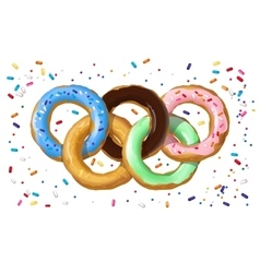 Colorful donuts in the shape of the Olympic symbol vector image vector image