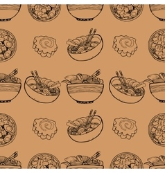 Cute pattern with japanese food vector