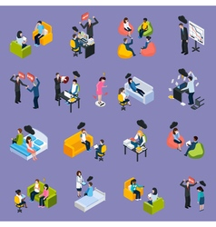 Depression And Stress Isometric Icons vector image vector image