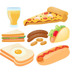 different kinds of food and drink vector image
