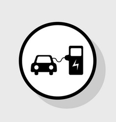 Electric car battery charging sign flat vector