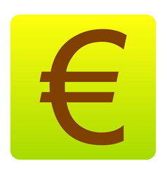 Euro sign brown icon at green-yellow vector