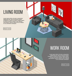 futuristic residential interior isometric banners vector image