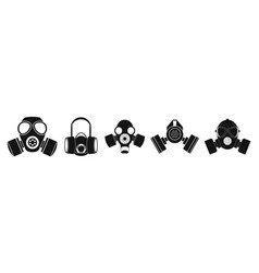 Gas mask icon set simple style vector
