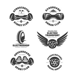 gyroscooter electric transport labels set vector image
