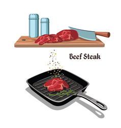 Hand drawn beef steak cooking concept vector