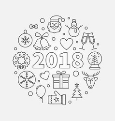 happy new 2018 year round in vector image