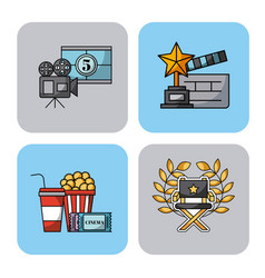 Icons set movies vector