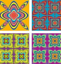 Kaleidoscope inspired floral background set vector