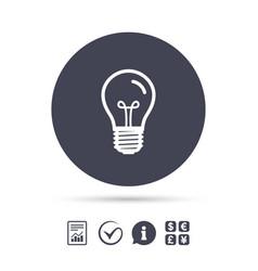 light bulb icon lamp e27 screw socket symbol vector image