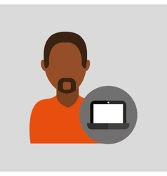 man african laptop icon vector image