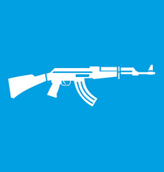 Military rifle icon white vector