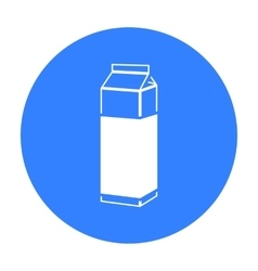 Milk box icon black single bio eco organic vector