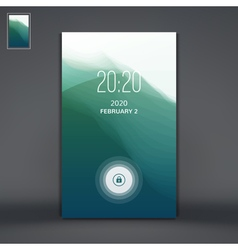 Modern lock screen for mobile apps water wave vector
