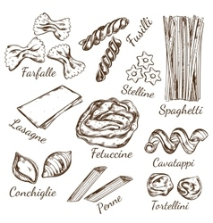 Pasta Types Sketch Set vector image