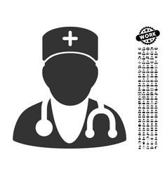 Physician icon with men bonus vector