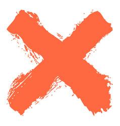 Red criss cross brushstroke delete sign vector