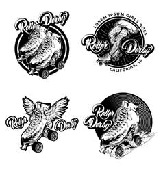 Roller derby monochrome emblems vector