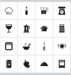 set of 16 editable kitchen icons includes symbols vector image
