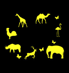 Set of animals mammals birds and insects yellow vector