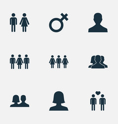 set of simple lovers icons vector image