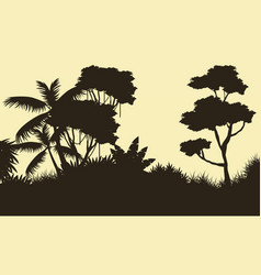 Silhouette of tree on the forest landscape vector