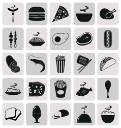 Simple black style food icon set vector