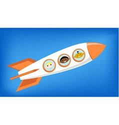 Space rocket flying into space with astronauts vector