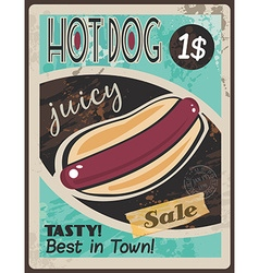 Vintage hot dog poster template vector