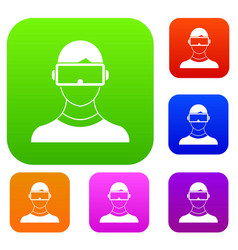 Virtual 3d reality goggles set collection vector