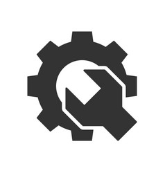 Wrench gear black icon vector