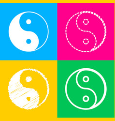 Ying yang symbol of harmony and balance four vector