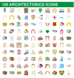 100 architectonics icons set cartoon style vector