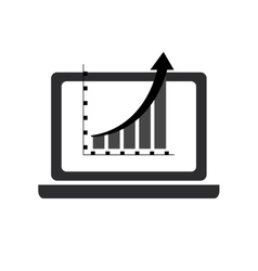 Computer and graph chart icon vector
