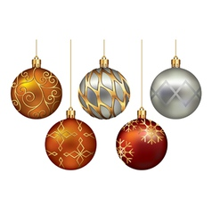 Christmas ornaments hanging on gold thread vector