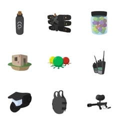 Competition paintball icons set cartoon style vector