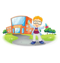 A scientist in front of a school building vector