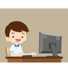 student boy working with computer vector image