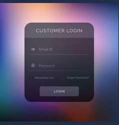 Dark user interface design for login template vector
